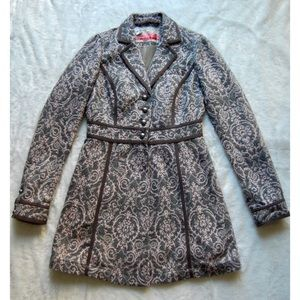 FREE PEOPLE   Vintage Gray Peacoat w/ Pink pattern